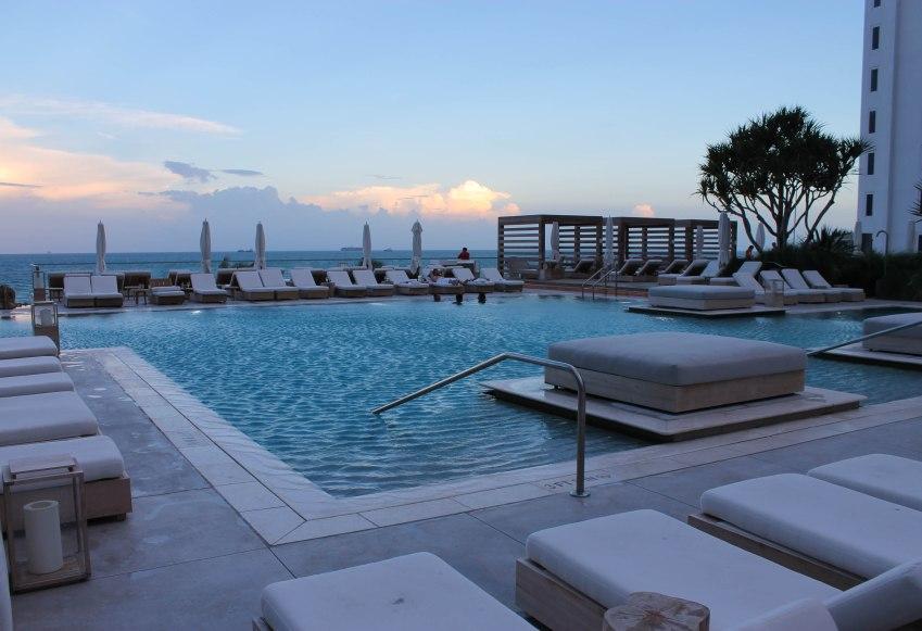 Main pool area, 1 Hotel South Beach, Miami Beach, Florida