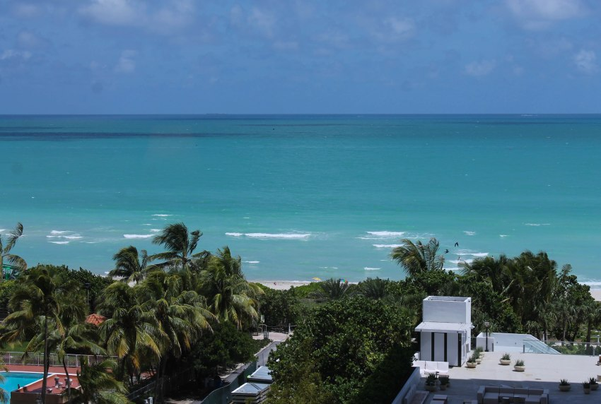 View from our One Bedroom Oceanfront Suite, 1 Hotel South Beach, Miami Beach, Florida