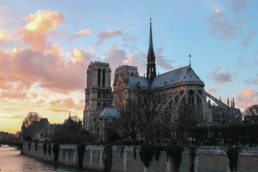 Notre Dame cathedral at sunset, Paris, France