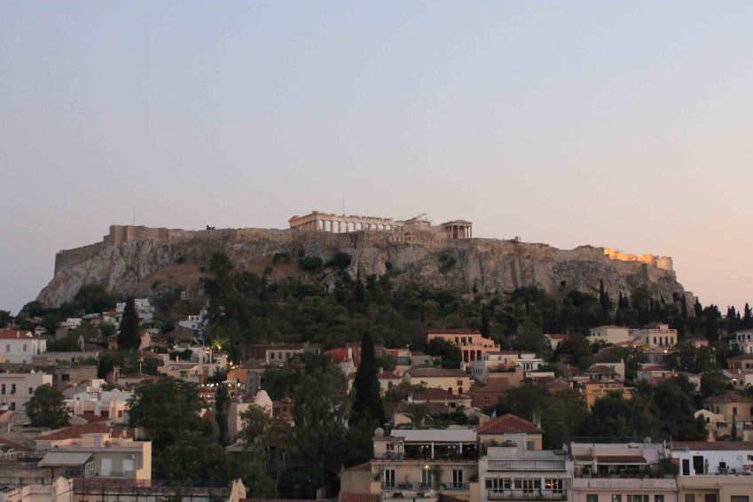 Parthenon viewed from the roofdeck of the Plaka Hotel, Athens, Greece