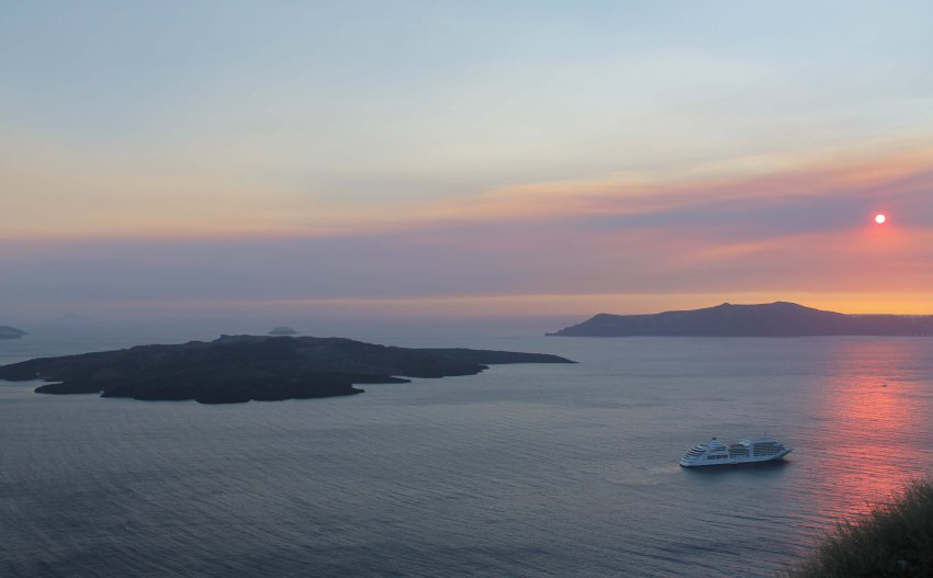 Sunset from Fira, Santorini, Greece