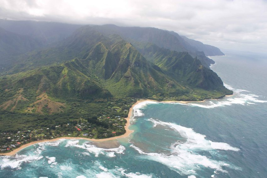 North shore of Kauai from a helicopter