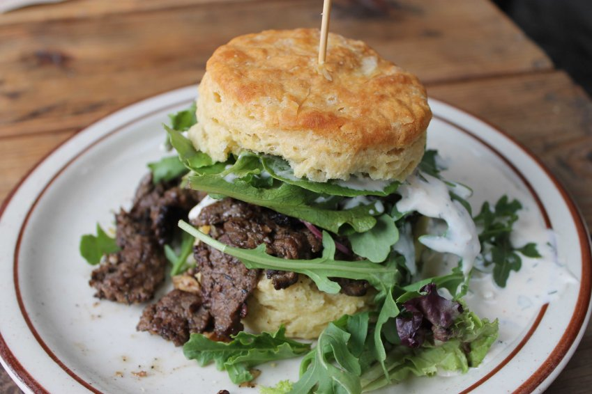 Steak club biscuit, Pine State Biscuits, Portland, OR