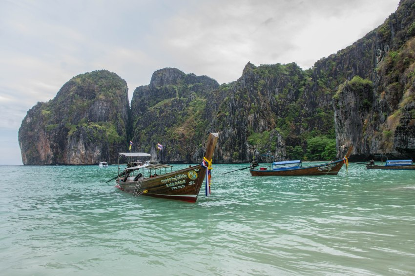 Longtail boats in Maya Bay, Phi Phi Islands, Thailand