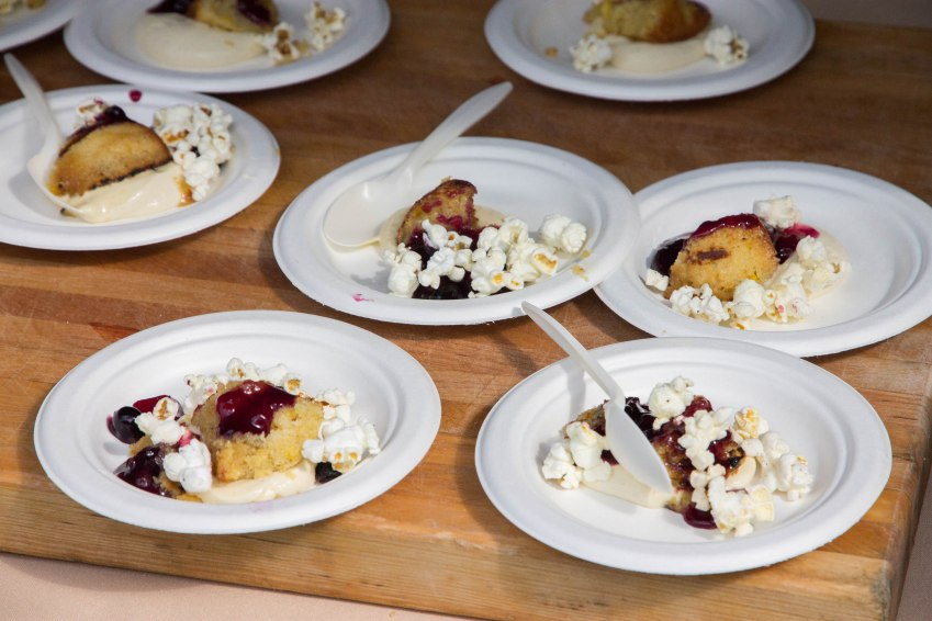 Griddled corn cakes with peach-blueberry compote and husk cream from Vida