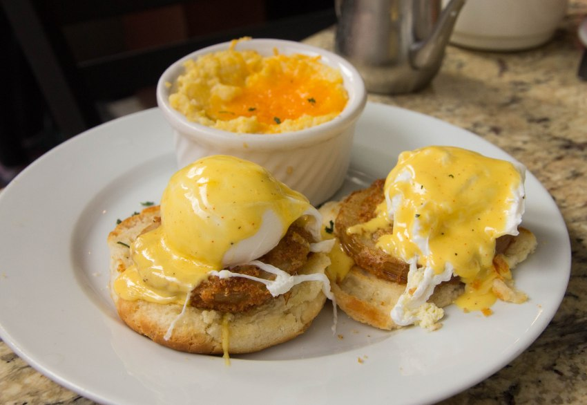 Fried green tomatoes eggs Benedict, Cafe Fleur de Lis, New Orleans